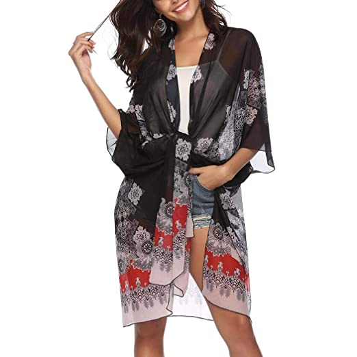 d139dac377 Image Unavailable. Image not available for. Color: Adoeve Women Casual Floral  Printed Beach Shawl Chiffon Cover-Ups 3/4 Sleeve Cardigan