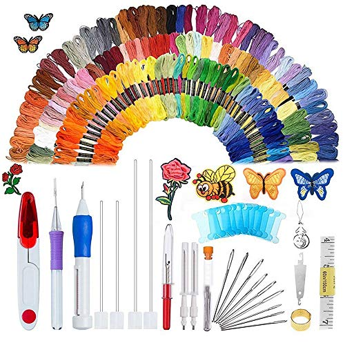Magic Embroidery Pen Set, Kisstaker 210pcs Embroidery Pen Punch Needle with 170 Color Threads,Embroidery Patterns Punch Needle Kit Craft Tool for DIY Sewing Pattern Knitting (Embroidery Set)