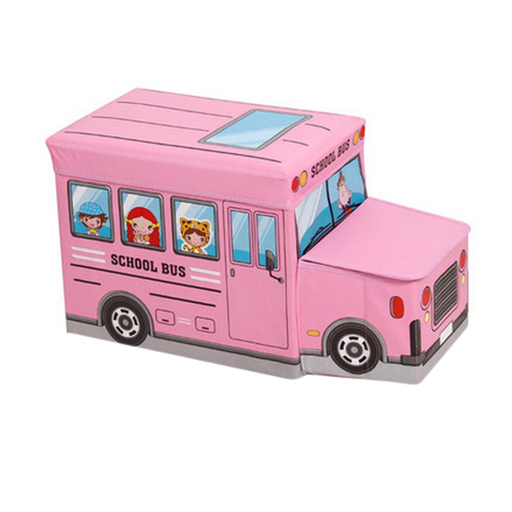 Le bus Favorite Cartoon Car é cole Tabouret de rangement pour enfants rose Blancho Bedding