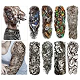 Fashion Temporary Tattoo Transfer Stickers - 8 Sheets Large Size Tattoo Body Stickers for Man & Women Waterproof Removeable Non-Toxics & Safe for All Skin (Set.2)