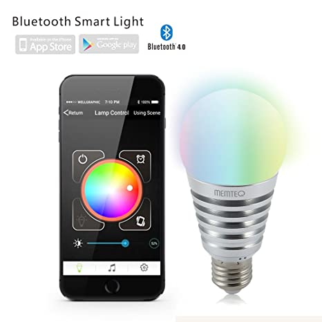 MEMTEQ® Bombilla Inteligente Bluetooth 4.0 7,5W RGB SmartLight E27 E26 Multi-color Regulable LED ...