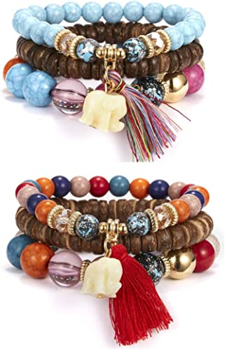 Multilayer Adjustable Bangle Boho Statement Bracelet Sets Beads Bracelets