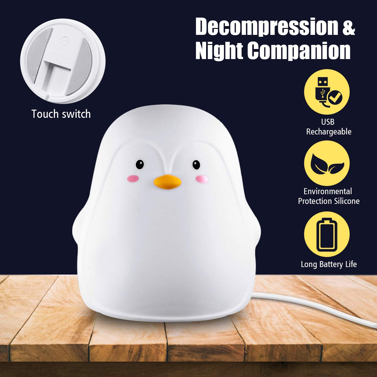 2 Lichtmodi Elfeland Nachtlicht Baby Nachtlampe Nachttischlampe Nachtleuchte Schlummerleuchte Touch Lampe 7 Farbm/öglichkeiten Sicheres ABS/& Silikon Pinguin f/ür Kind Kinderzimmer USB aufladbar