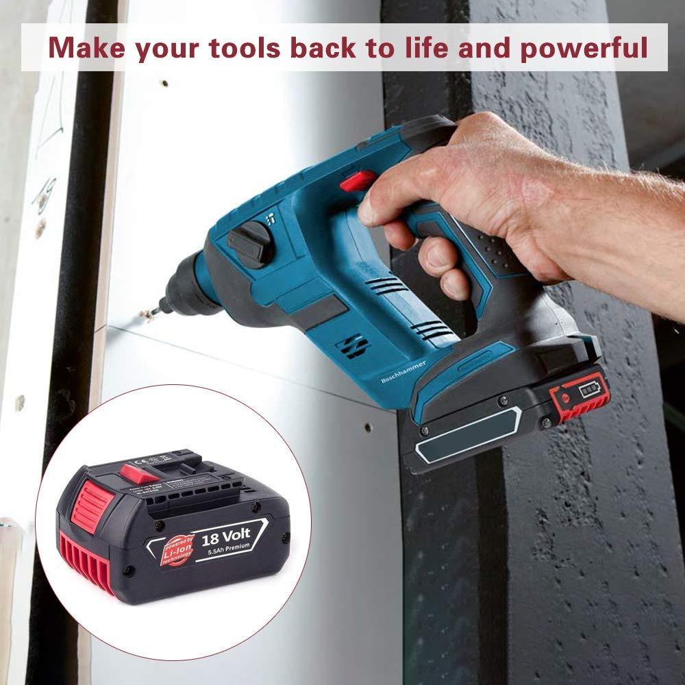 2X Moticett reemplazo para Bosch Bater/ía 18V 5.5Ah Lithium-Ion BAT609 BAT609G BAT618 BAT618G BAT619 BAT619G