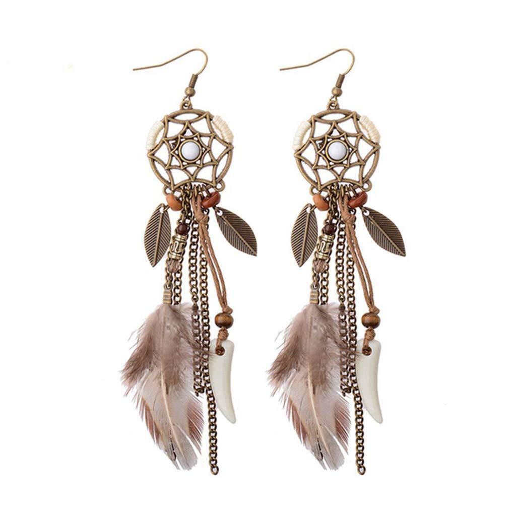 Princegame 1 Pair Creative Alloy Dream Catcher Earrings Vintage Tassel Leaves Feather Ear Rings Minimalism Elegant Design Female Danglers Jewelry Gift