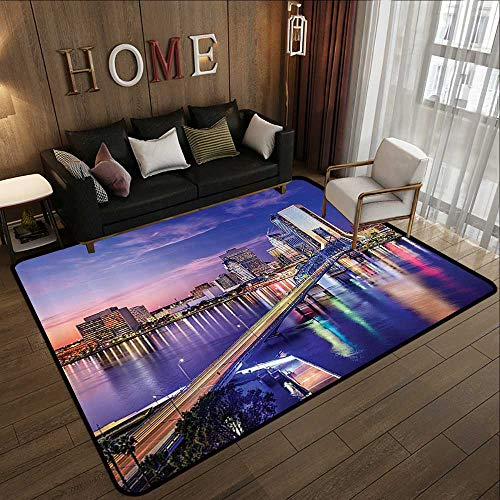 Throw Rugs,Apartment Decor Collection,Jacksonville Florida USA Architecture Business District Cityscape Evening Scene Image,Navy Gr 35'x 59' Office Chair Floor Mat Foot Pad