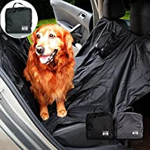 Hualite Dog Car Seat Cover, Large Waterproof Foldable Pet Hammock Rear Bench BackSeat Cover with Belt Buckle and Storage Bag Blanket Travel Protector Mat for Truck SUV (Black)