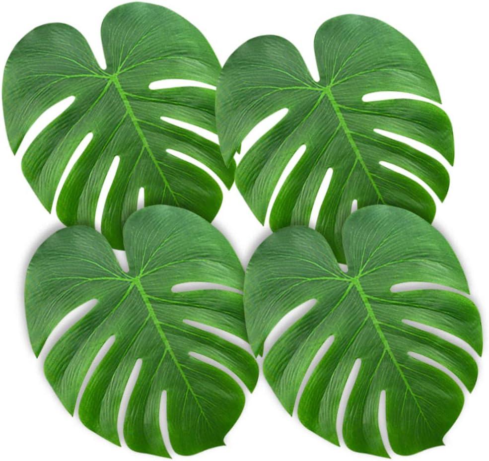 "KUUQA 60 Pcs Large 13"" Tropical Leaves Artificial Green Monstera Leaves Palm Leaf for Luau Party Hawaiian Aloha Tiki Theme Safari Jungle BBQ Birthday Party Decoration Supplies"