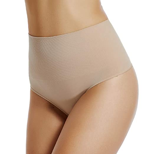 e89fa48e1 High Waist Thong Panties for Women Tummy Control Underwear Slim Body Shaper  Thong Shapewear (Beige