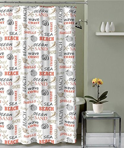 cdr home linens mapleton collection luxury shower curtain sandwave coral - Luxury Shower Curtains