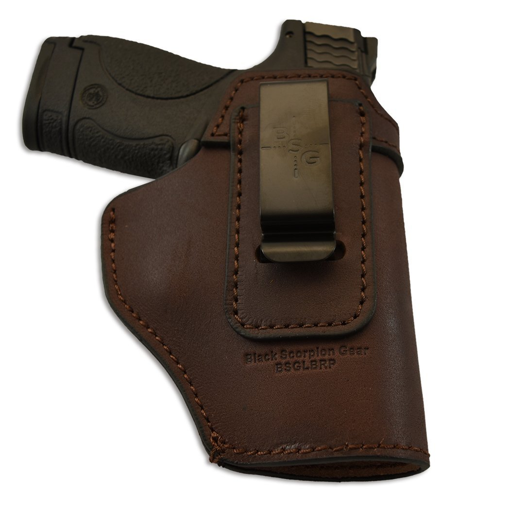 Black Scorpion Outdoor Gear Patriot Multi Gun, Leather IWB Holster - Made USA - Inside Waistband - Fit S&W M&P Shield/GLOCK 17 19 22 23 26 27 32 33/Springfield XD & XDS/All Similar Handguns