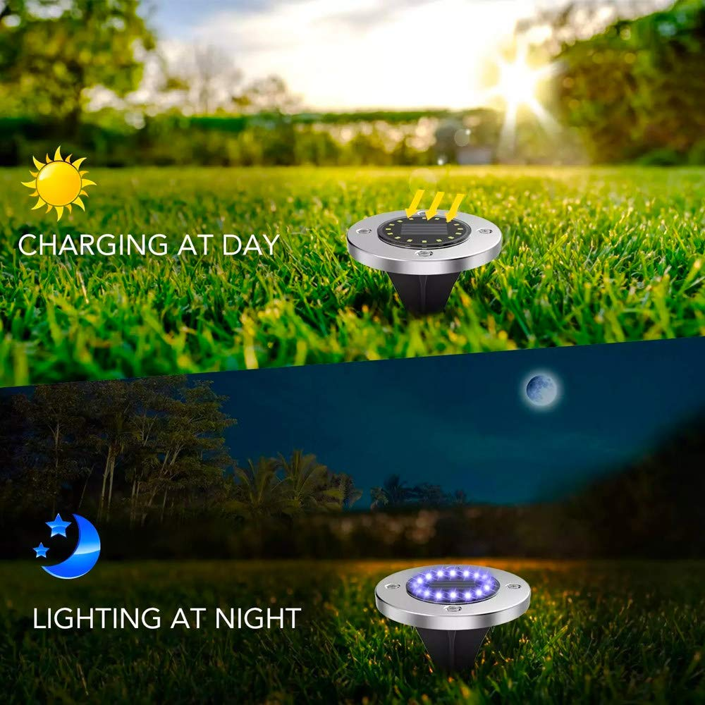 Solar Garden Lights,8LED Outdoor Lights for Yard Pathway Walkway - Warm White (4 Pack)