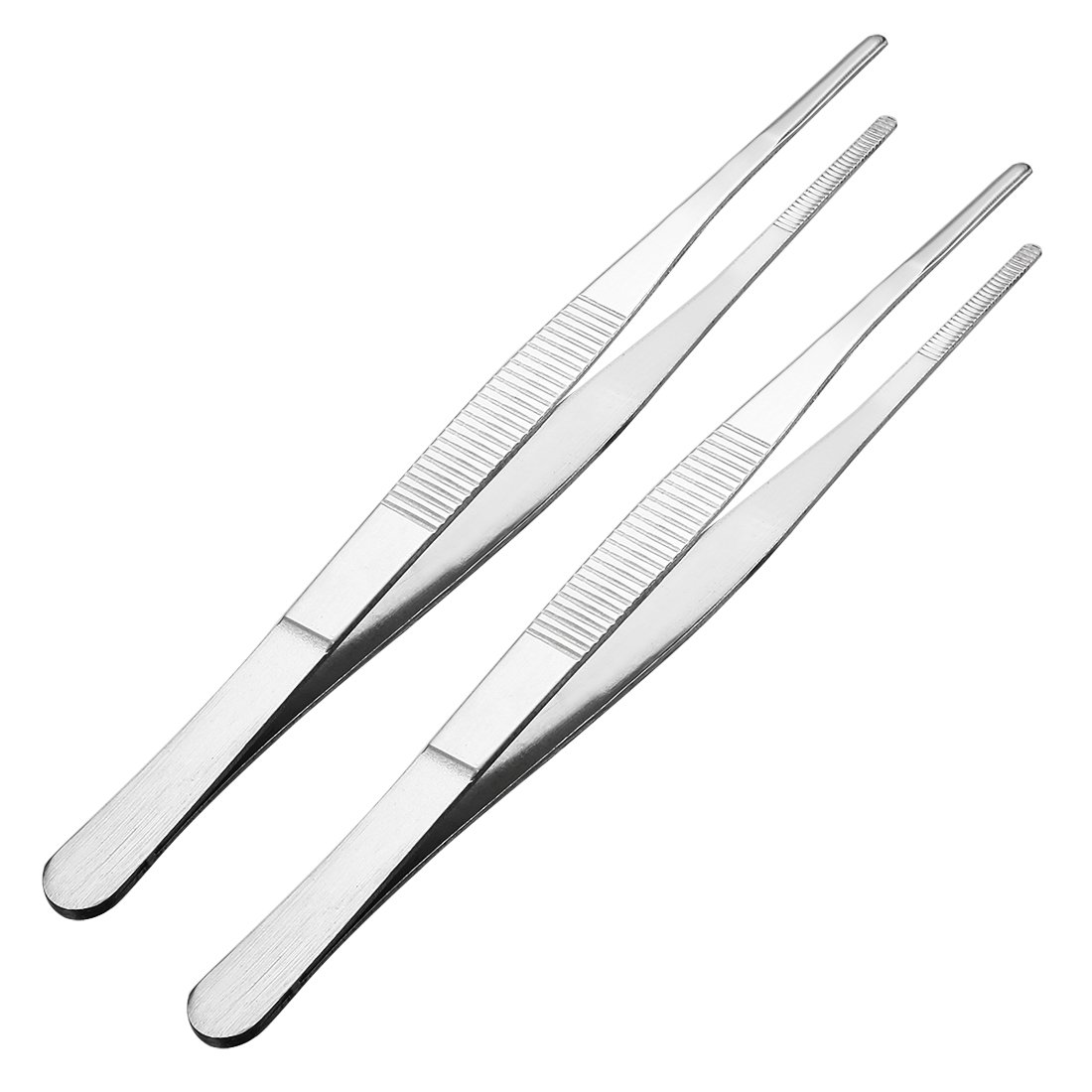 uxcell 3 Pcs Stainless Steel Straight Blunt Tweezers Serrated Tip, 10 inch a18041300ux0059