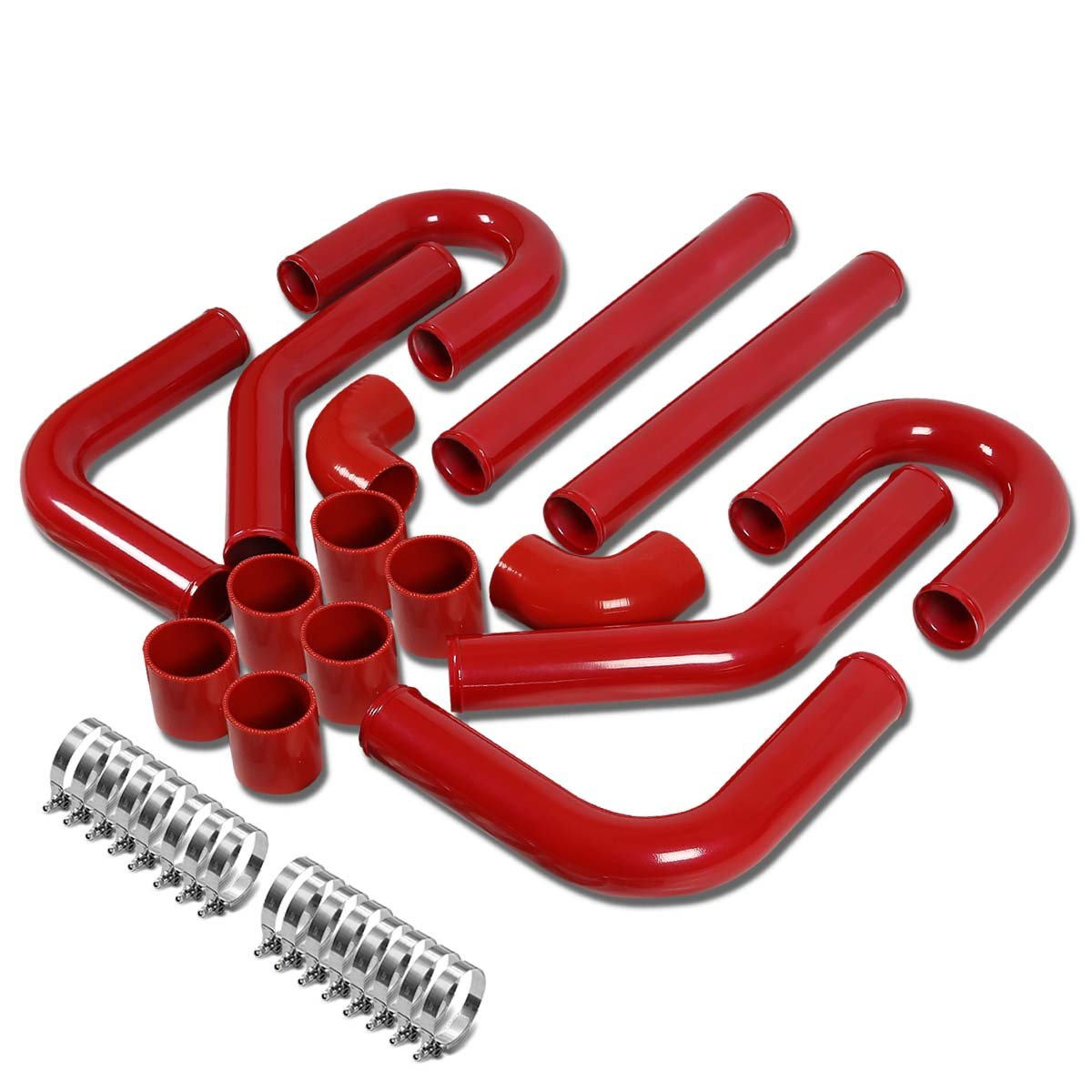Universal 2' 8pcs Silver FMIC Front Mount Intercooler Piping+Silicone Hose+Clamps Kit Auto Dynasty