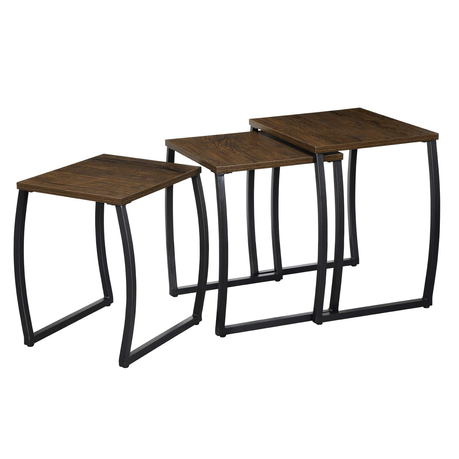 RooLee Nesting Coffee End Table, Vintage Nightstand, Side Accent Table, Sofa Snack Table Set of 3 for Living Room and Office