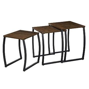 RooLee 3er Set Beistelltisch Couchtisch Sofatisch Kaffeetisch Satztische  Kleine Tische für Wohnzimmer, Schlafzimmer, Vintage