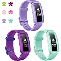 KOLEK Bands Compatible with Fitbit Ace 2 for Kids,Soft Silicone Waterproof Bracelet Accessories Sports Watch Strap Wristbands Replacement for Fitbit Ace 2 Boys Girls,Marine Green/Lavender/Grape