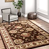 Sultan Sarouk Brown Oriental 8x10 (7'10'' x 10'6'') Area Rug Persian Floral Formal Traditional Area Rug Easy Clean Shed Free Modern Classic Contemporary Thick Soft Plush Living Dining Room Rug