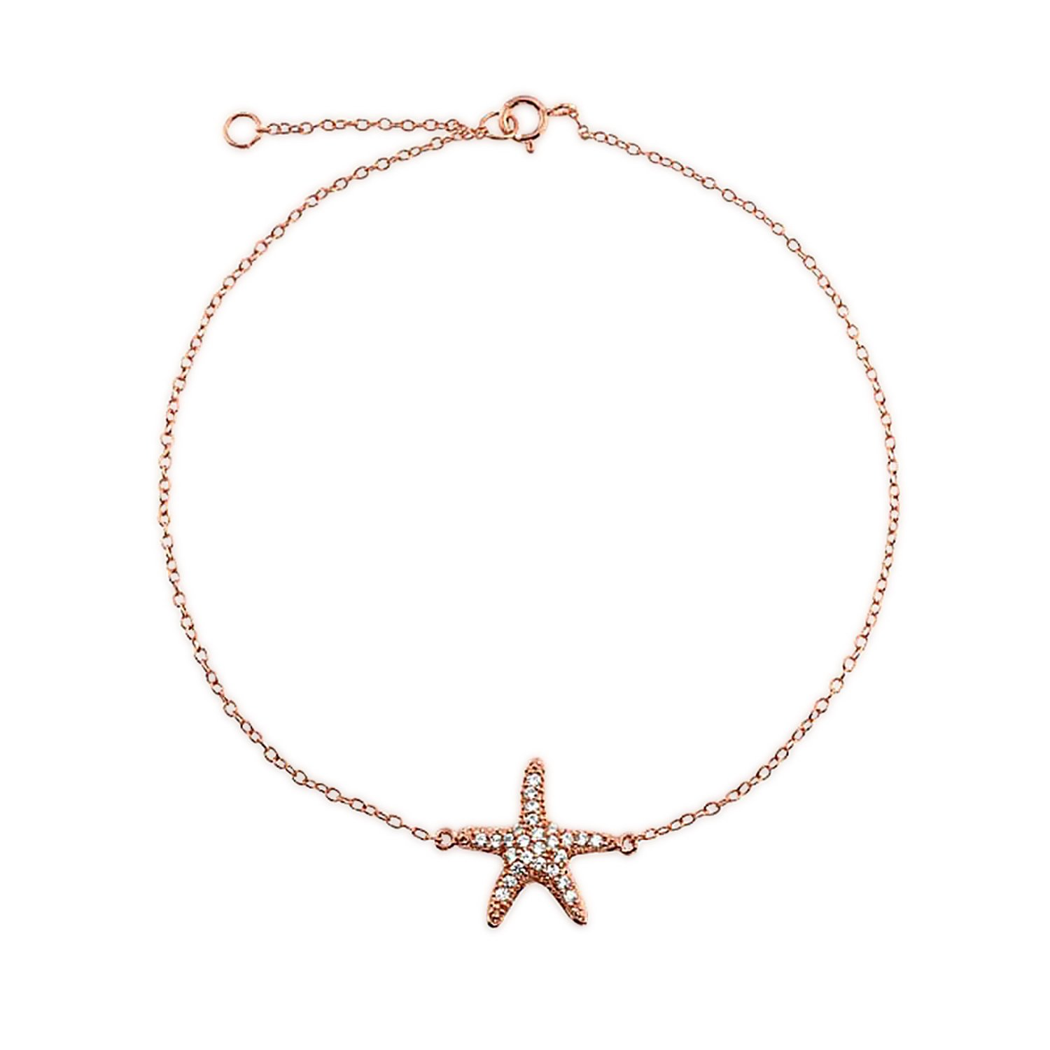 Bling Jewelry Pave CZ Rose Gold Plated Silver Happy Starfish Anklet 8.5in PFS-54-0491