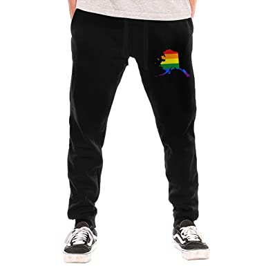 Amazon.com: Alaska Rainbow Flag - Pantalones de deporte para ...