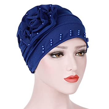 dccc447e12b Image Unavailable. Image not available for. Colour  TITAP 2018 Women Flower  Beading Chemo Beanie Shower Scarf Turban Head Wrap Cap ...