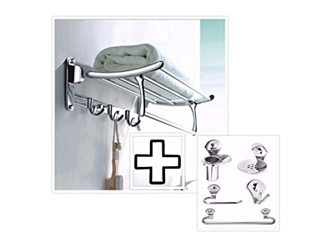 Fortune Stainless Steel 24 Inch Folding Towel Rack with 5 pcs Bathroom Accessories Set (Towel Rod/Napkin Ring/Soap Dish/Tumbler Holder/Robe Hook)