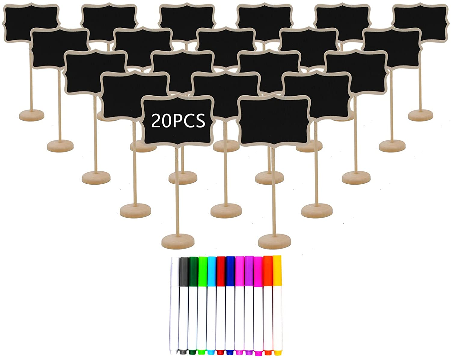 20PCS Wood Mini Chalkboard Sign with Easel Stand ,Food Labels for Party Buffet ,Blackboard for Message Board Signs,Weddings Place Cards, Birthday Parties,Table Numbers,Plants,Special Event Decorations