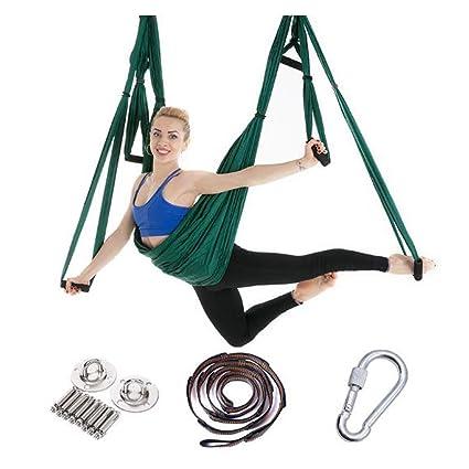 ZMJY Juego de Yoga aéreo de 6 Manos, Columpio de Yoga antigravedad Seguro y Estable, con Correa de extensión y Placa para Colgar 250 × 150 cm