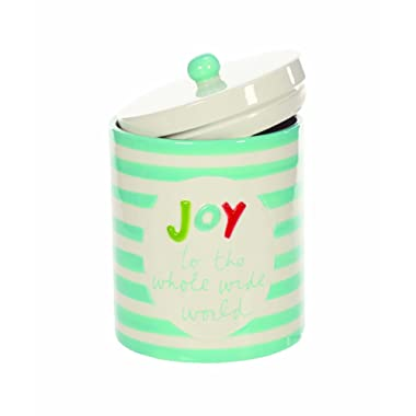 Blue Striped Joy to the World 5 x 6 Inch Ceramic Christmas Cookie Jar Container