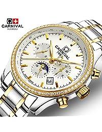 Mastop Moon Phase Luminous Waterproof Watch Men Stainless Steel Sapphire Automatic Machine Wristwatch