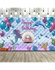 Frienda Under The Sea Little Mermaid Birthday Party Backdrop Girl Princess Mermaid Scales Birthday Photo Booth Backdrop Purple Blue Mermaid Pearl Whale Background Banner for Party Decor 71 x 43 Inch