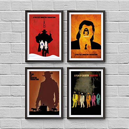 Quentin Tarantino Movies Minimalist Poster Set 4 The Hateful Eight Django Unchained Pulp Fiction Reservoir Dogs Collection Prints Illustration Wall Artwork Home Decor Hanging Cool Gift (Cool Movie Quotes)