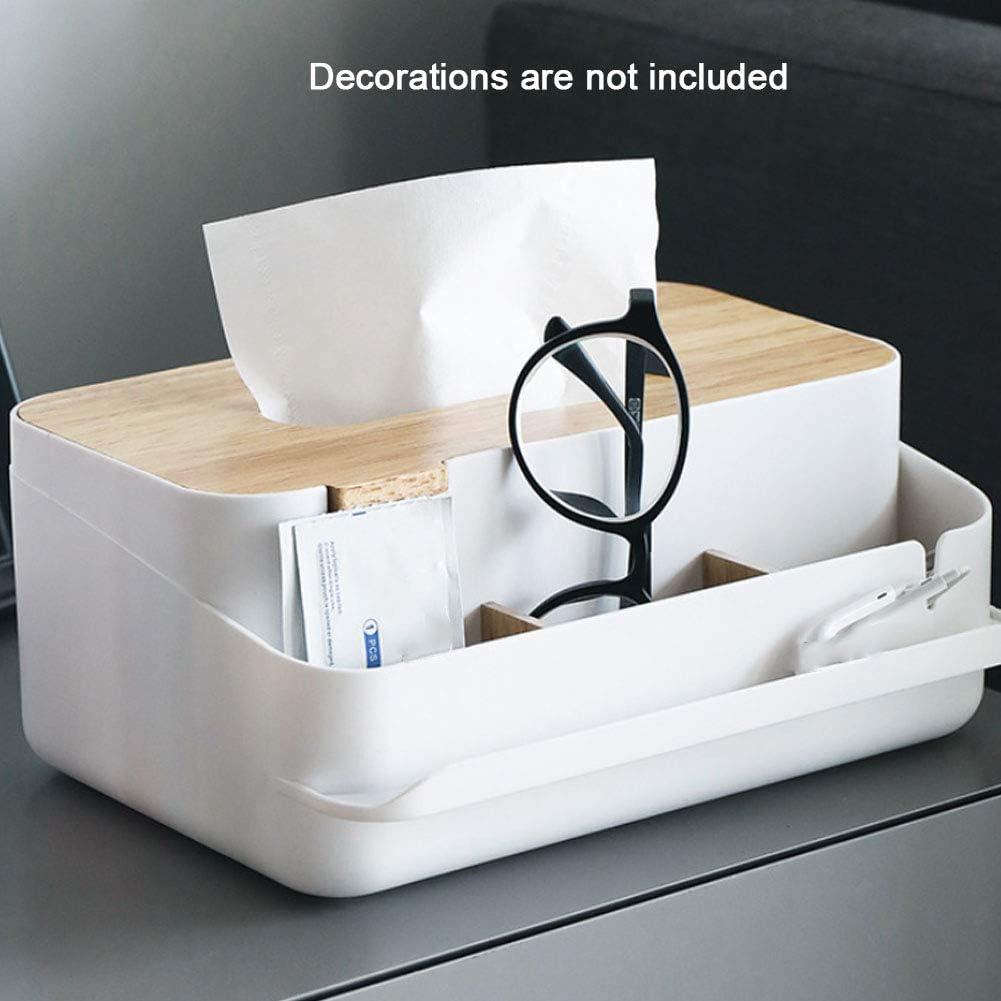 Taschent/ücher Box,Tissue-Box Holz ROKF Kosmetikt/ücherbox Multifunktions-Feder-Bleistift-Fernbedienung Gewebe-Kasten-Abdeckungs-Halter Desktop Storage Boxen Fernbedienungshalter