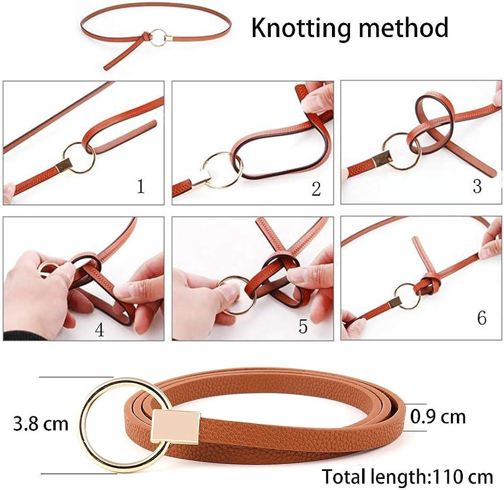 Cintur/ón de cuero de PU para mujer Cintur/ón fino Cintur/ón para vestido y pantalones Ancho de 0.9 cm
