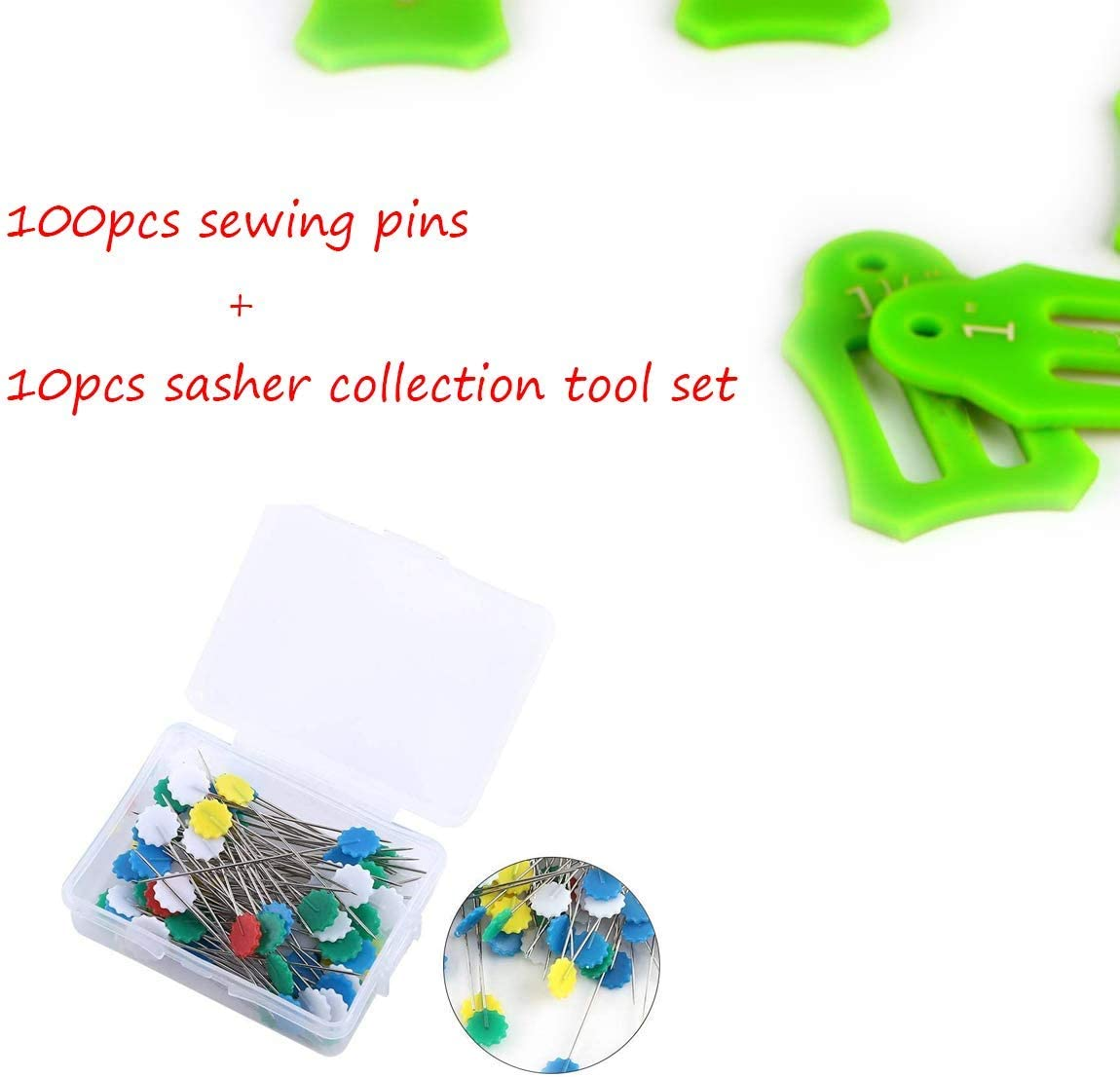 Green YICBOR 10pcs Multi-Sizes Folding Fabric and Biasing Strips Roll Tool Set with 100pcs//BOX Multi-Color Flower Head Pins Quilting Pins