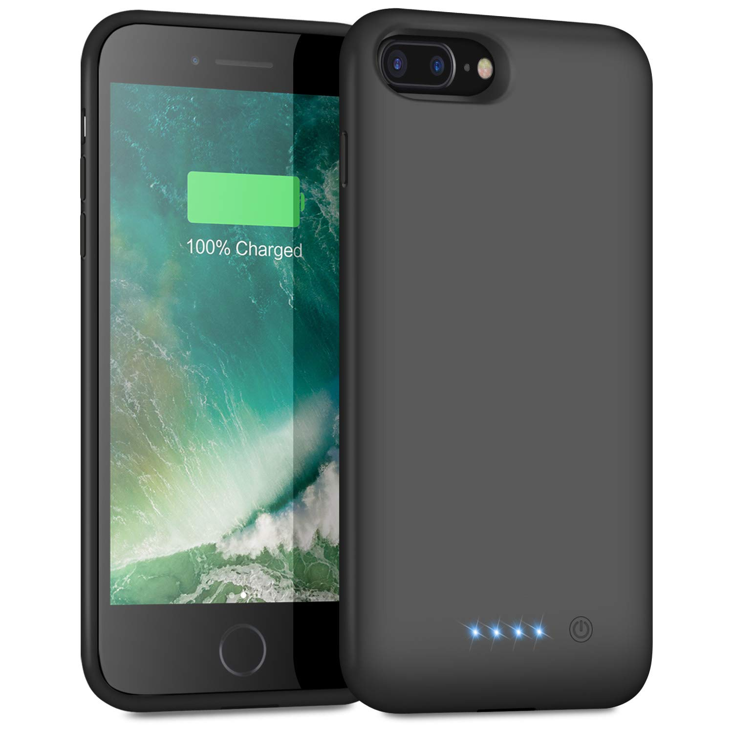 Battery Case for iPhone 8 Plus/7 Plus 8500mAh, iPosible Upgraded Portable Rechargeable Charging Case Extended Battery Pack for Apple iPhone 7 Plus/8 Plus [5.5 inch] Protective Backup Cover Case-Black