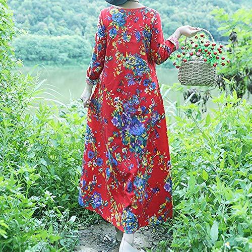 Élégante Rot À Vintage Longues Print Longue Ligne Vrac Coton Lin Rond Manches En Et Floral d Ladies Col Dame Plus Robe Mode Casual Robes Size Battercake A Chemise Fl3uTK1Jc