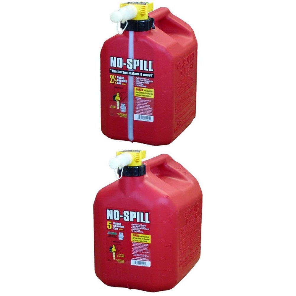 No-Spill 1405 2-1/2-Gallon Poly Gas Can with No-Spill 1450 5-Gallon Poly Gas Can