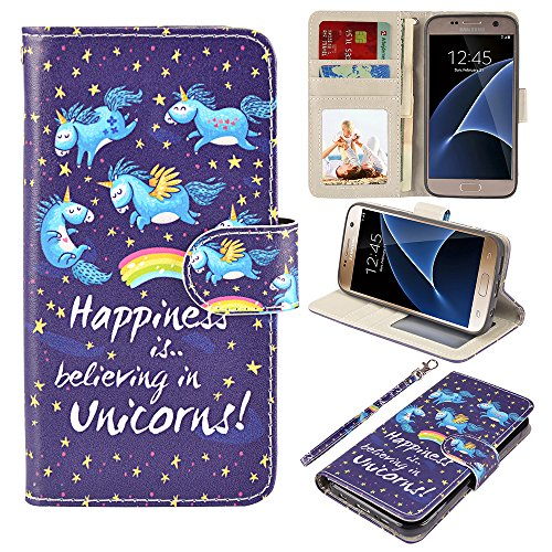 S7 Case, UrSpeedtekLive Galaxy S7 Wallet Case, Premium PU Leather Wristlet Flip Case Cover with Card Slots & Stand for Samsung Galaxy S7,Unicorn