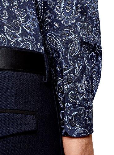 Stampata In Oodji Blu Cotone Uomo Ultra 7975e Camicia 6xSHzn