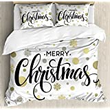 Ambesonne Christmas Duvet Cover Set Queen Size, Merry Christmas Stylized Lettering on Abstract Modern Snowflake Dot Pattern, Decorative 3 Piece Bedding Set with 2 Pillow Shams, Gold Taupe Black