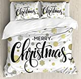 Christmas King Size Duvet Cover Set by Ambesonne, Merry Christmas Stylized Lettering on Abstract Modern Snowflake Dot Pattern, Decorative 3 Piece Bedding Set with 2 Pillow Shams, Gold Taupe Black