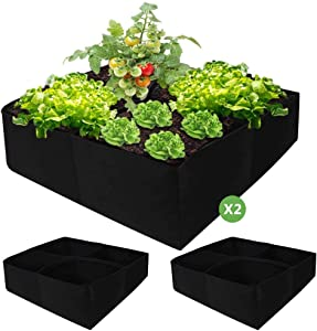 Nardo Visgo Fabric Raised Garden Beds Planter 2 Pack 30 Gallon (24 x 24 x 12 Inches) 4 Divided Grids Plant Grow Bags Fabrics Aeration Planting Bags for Flowers Vegetables Plants - for Small Space