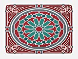 Lunarable Arabian Bath Mat, Oriental Original Old Style Ornate Persian Pattern with Victorian Artsy Vintage, Plush Bathroom Decor Mat with Non Slip Backing, 29.5 W X 17.5 W Inches, Red Grey Teal