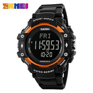 Fitness ritmo cardíaco monitor podómetro reloj para hombres mujeres deporte relojes Digita..., color naranja: Amazon.es: Deportes y aire libre