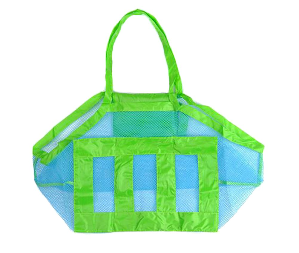 Beach Mesh Tote Bag - Beach Toys/Shell Bag Stay Away from Sand for the Beach, Pool, Boat - Perfect for Holding Childrens' Toys(Blue)