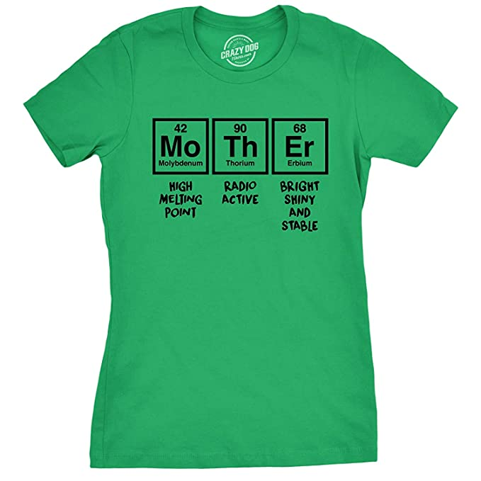 ec3ec4c8a Womens Mother Periodic Table Tshirt Funny Science Mothers Day Tee for Ladies  Green