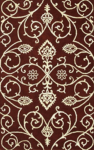 Noble House AMB705811 Amber Area Rug, Burgundy/Gold, 8' x 11' (Amber Gold Area Rug)