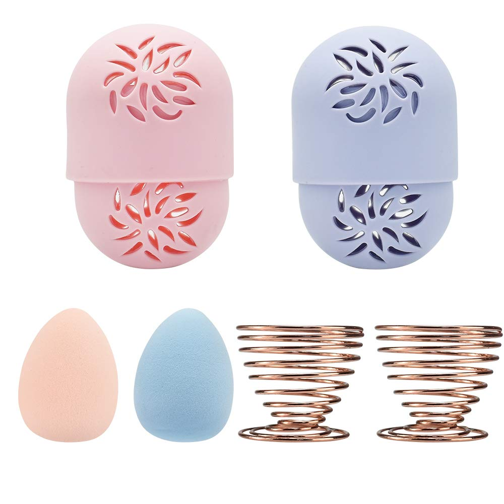 DKAF Beauty Blender Container Set, 2 Silicone Beauty Sponge Travel Case 2 Soft Beauty Sponge and 2 Makeup Blender Drying Holder, Easy to Carry