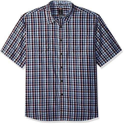 Dickies Men's Yarn Dyed Plaid Short Sleeve Shirt, Red/Blue/White Check, (Blue White Check Shirt)